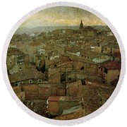 Calahorra Roofs From The Bell Tower Of Saint Andrew Church Round Beach Towel by RicardMN Photography