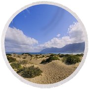 Caleta De Famara Beach On Lanzarote Round Beach Towel