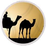 Camel Caravan, India Round Beach Towel