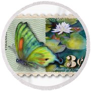 3 Cent Butterfly Stamp Round Beach Towel