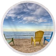 3 Chairs Round Beach Towel