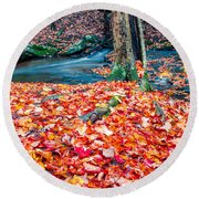 Chesterfield Gorge New Hampshire Round Beach Towel