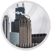 Chicago Architecture Round Beach Towel