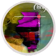 Chicago Illinois Map Watercolor Round Beach Towel