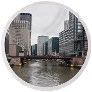 Chicago Skyline And Streets Round Beach Towel