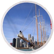 Chicago Skyline And Tall Ship Round Beach Towel