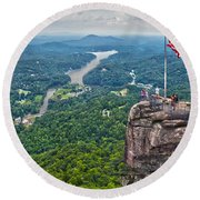 Chimney Rock At Lake Lure Round Beach Towel