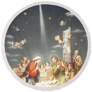 Christmas Card Round Beach Towel by French School