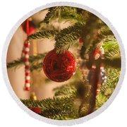 Christmas Tree Ornaments Round Beach Towel