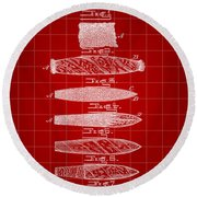 Cigar Patent 1887 - Red Round Beach Towel