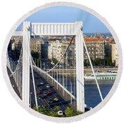 City Of Budapest In Hungary Round Beach Towel
