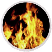 Close-up Of Fire Flames Round Beach Towel
