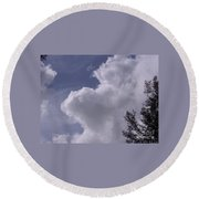 Clouds And Trees Round Beach Towel