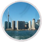 Cn Tower Toronto View From Centre Island Downtown Panorama Improvised With Graphic Artist Tools Pain Round Beach Towel