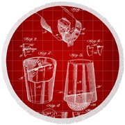 Cocktail Mixer And Strainer Patent 1902 - Red Round Beach Towel