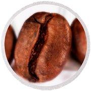 3 Coffee Beans Round Beach Towel