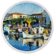 Colorful Port Round Beach Towel