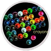 Colorful Wonderful Crayons Round Beach Towel