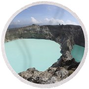 Colourful Crater Lakes Of Kelimutu Round Beach Towel by Richard Roscoe