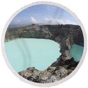 Colourful Crater Lakes Of Kelimutu Round Beach Towel