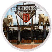 Comerica Park - Detroit Tigers Round Beach Towel by Frank Romeo