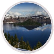 Crater Lake - Oregon Round Beach Towel