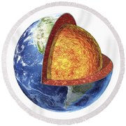 Cross Section Of Planet Earth Showing Round Beach Towel