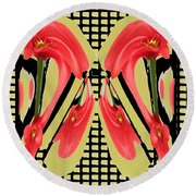 Dancing Tulip Red Exotic Flower Petal Based Wave Pattern  Created By Navinjoshi Reiki Healing Master Round Beach Towel