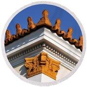 Decorative Roof Tiles In Plaka Round Beach Towel