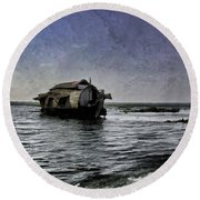 Digital Oil Painting - A Houseboat Moving Placidly Through A Coastal Lagoon In Alleppey Round Beach Towel