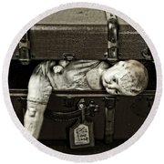 Doll In Suitcase Round Beach Towel