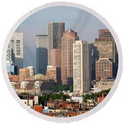 Downtown Boston Skyline Round Beach Towel