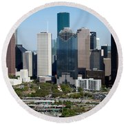Downtown Houston Skyline Round Beach Towel