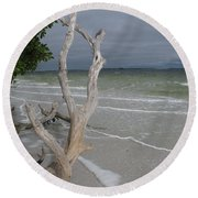 Driftwood On The Beach Round Beach Towel