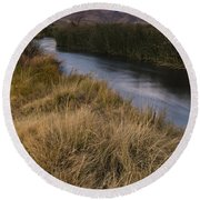 Eastern Sierras And Owens River Round Beach Towel