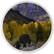 Eastern Sierras In Autumn Round Beach Towel