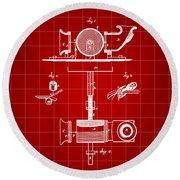 Edison Phonograph Patent 1878 - Red Round Beach Towel