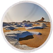Egytians White Desert Round Beach Towel
