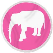 Elephant In Pink And White Round Beach Towel