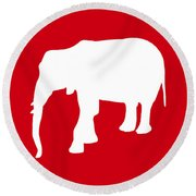 Elephant In Red And White Round Beach Towel