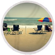 3 Empty Beach Chairs Round Beach Towel