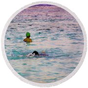 Enjoying The Water In The Coral Reef Lagoon Round Beach Towel