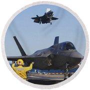 F-35b Lighnting II Variants Land Aboard Round Beach Towel