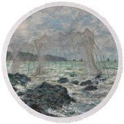 Fishing Nets At Pourville Round Beach Towel