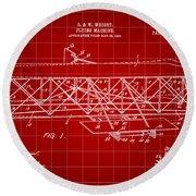 Flying Machine Patent 1903 - Red Round Beach Towel
