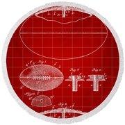 Football Patent 1902 - Red Round Beach Towel