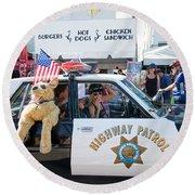 Ford Diplomat Police Car Round Beach Towel