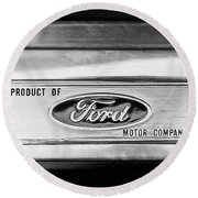 Powered By Ford Emblem -0307bw Round Beach Towel