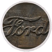 Ford Tough Antique Truck Logo Round Beach Towel
