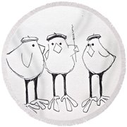 3 French Hens Drawing Round Beach Towel